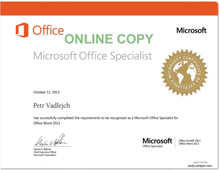 Certificates Itlektor Ms Office Specialist