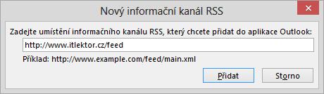 Vložení RSS adresy