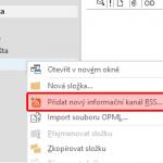 Jak přidat RSS kanál do Outlooku