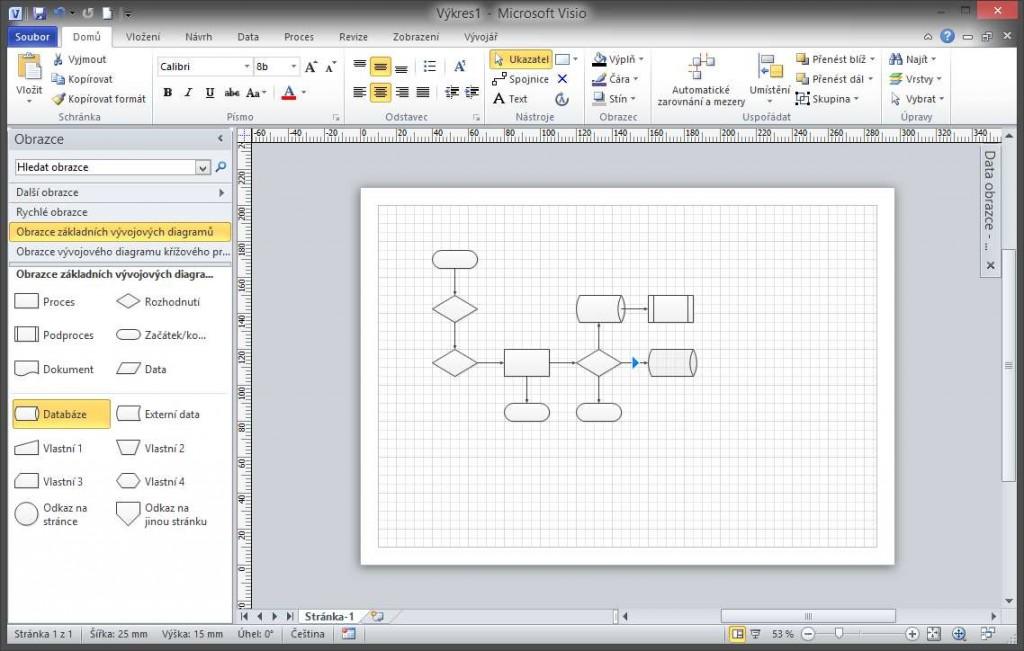 Vkládání obrazců do diagramu