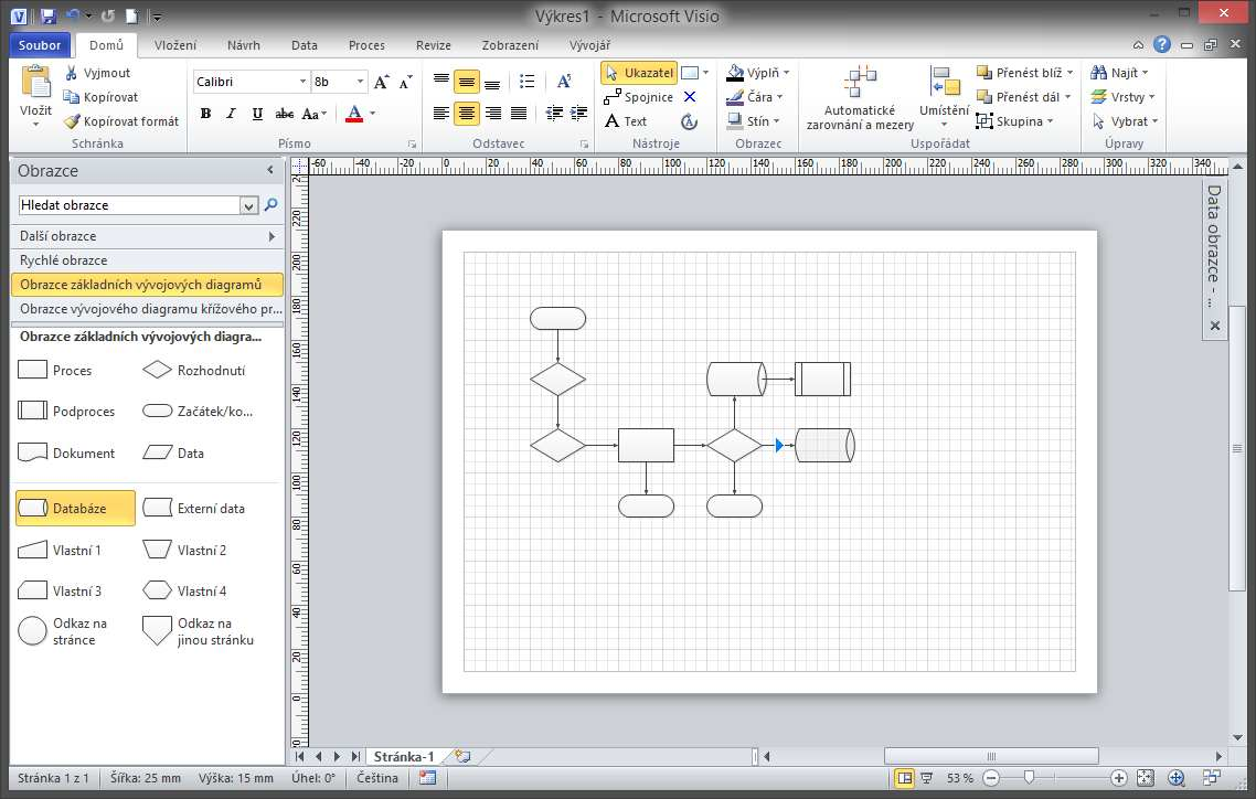 Basic flowchart diagram itlektor ms office specialist vkldn obrazc do diagramu geenschuldenfo Image collections