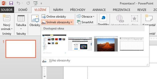 Vložení snímku obrazovky