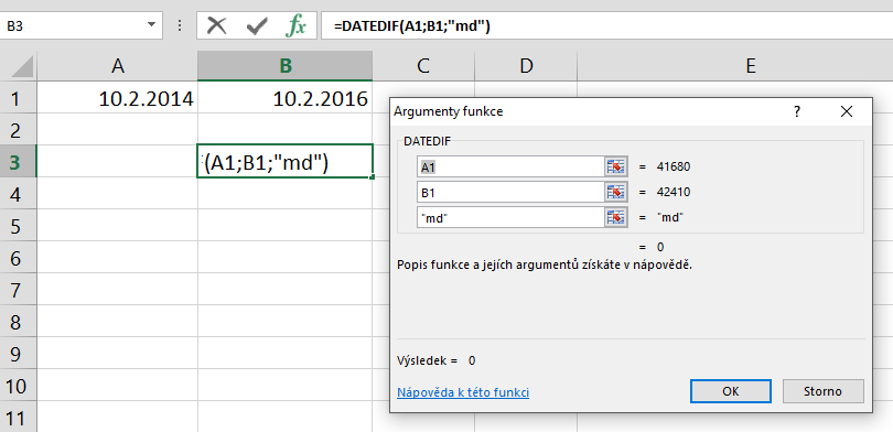 datumsdifferenz excel 2016